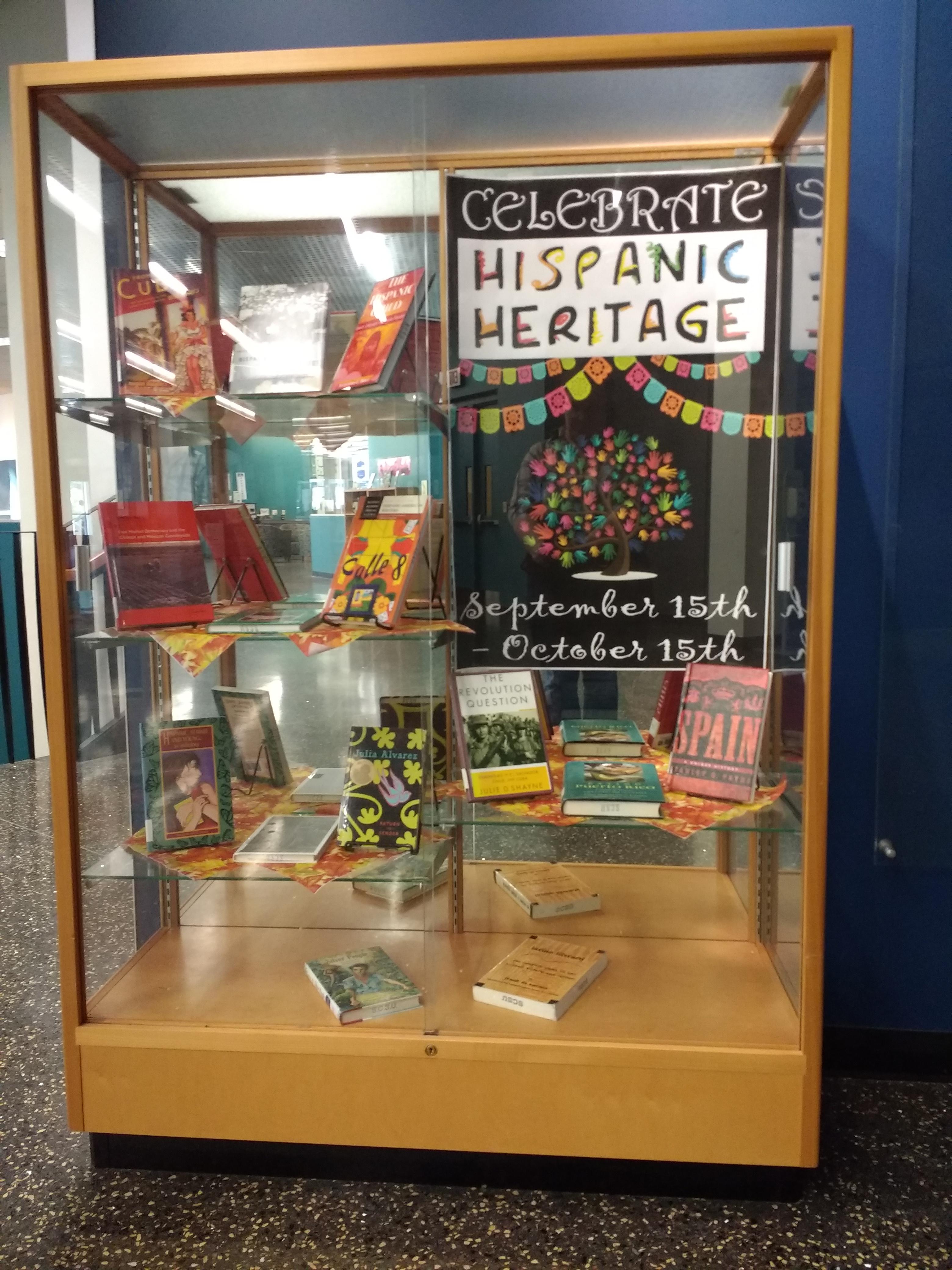 Book display for Hispanic Heritage Month