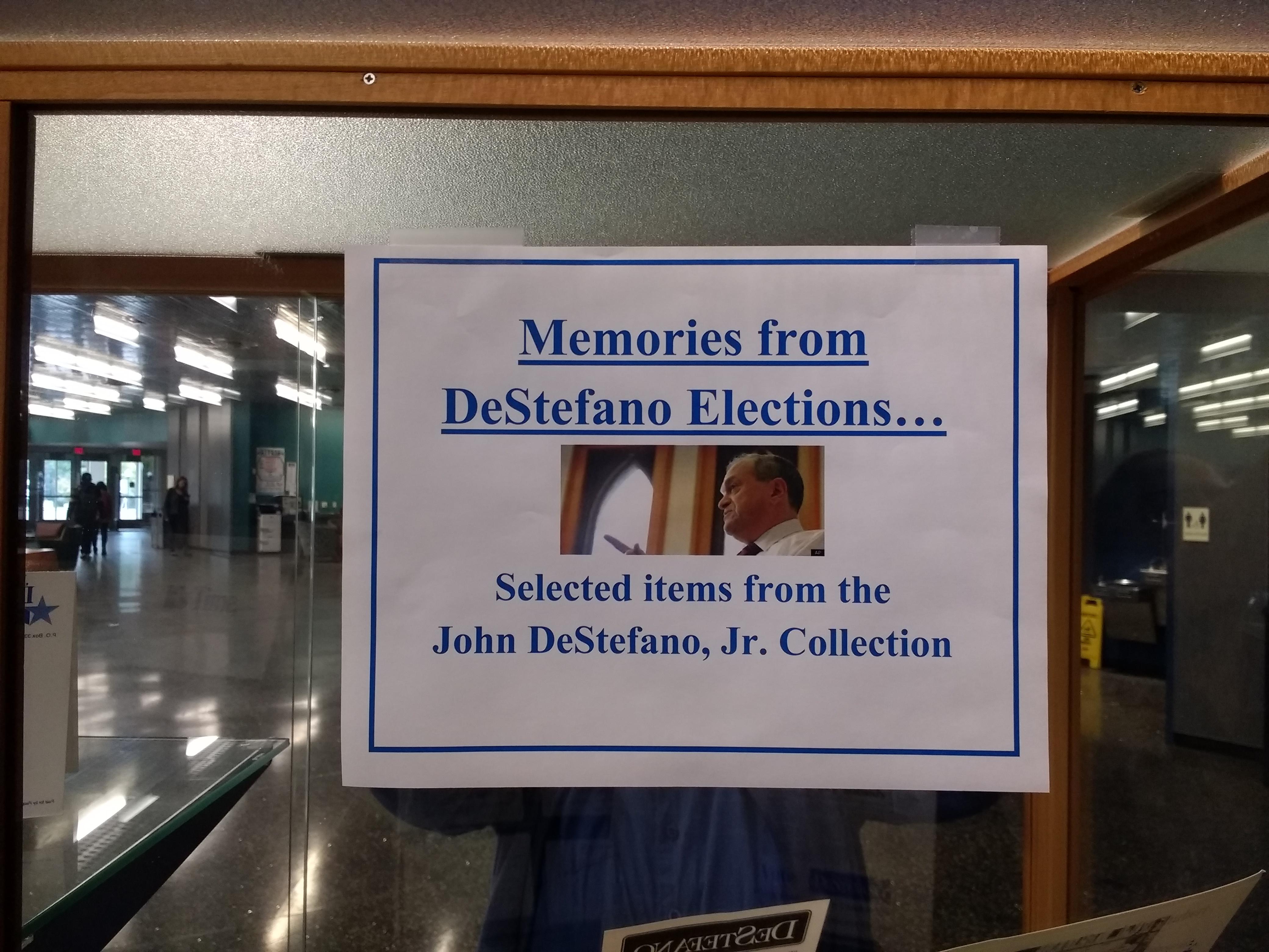 Title plaque for Memories from DeStefano Elections exhibit