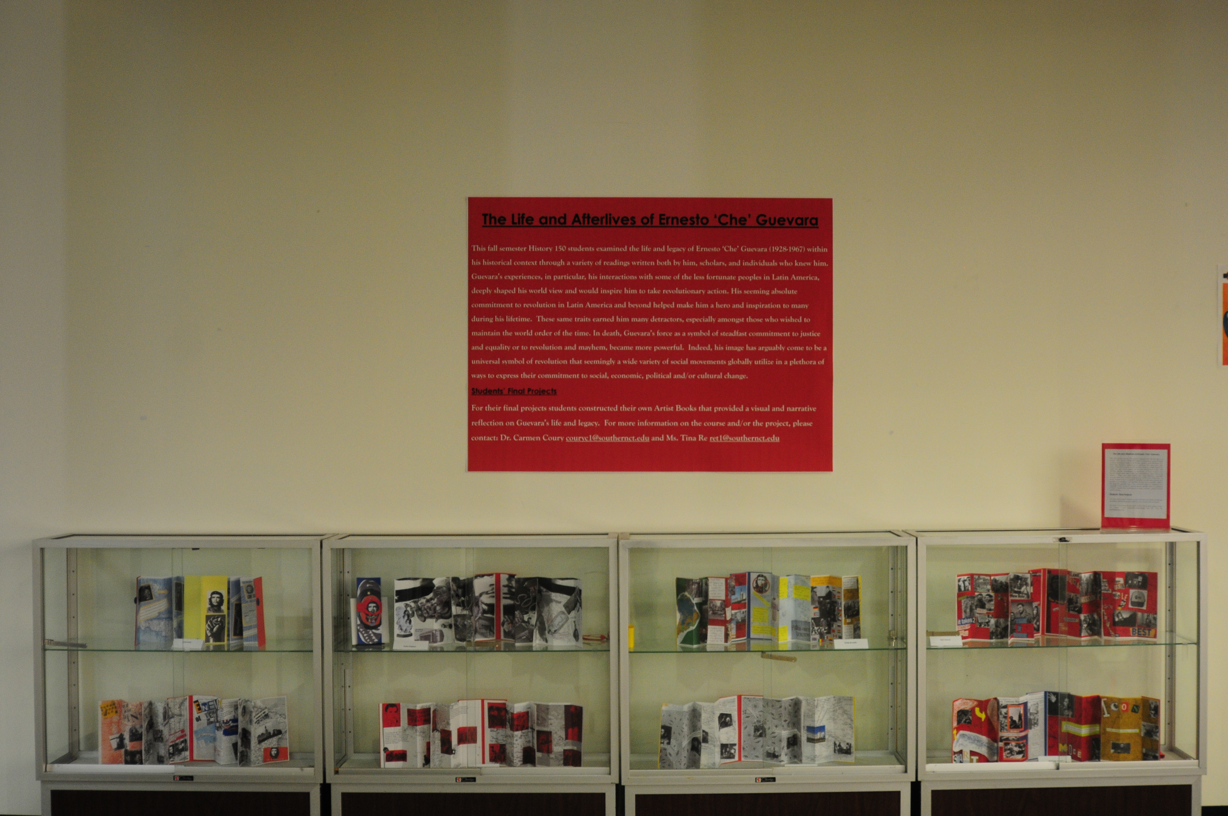 Photo of entire exhibit case with student-created artists' books