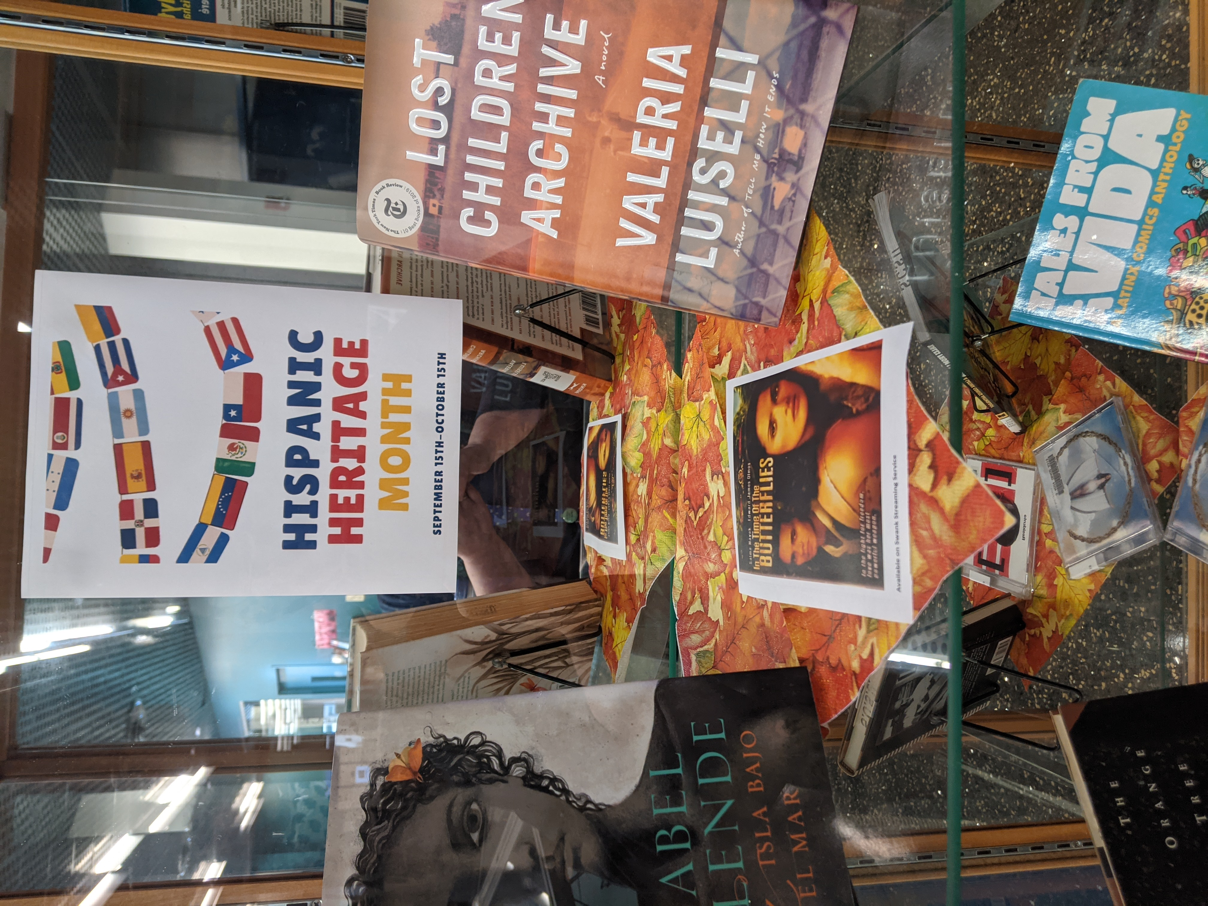 Exhibit case for Hispanic Heritage Month with books