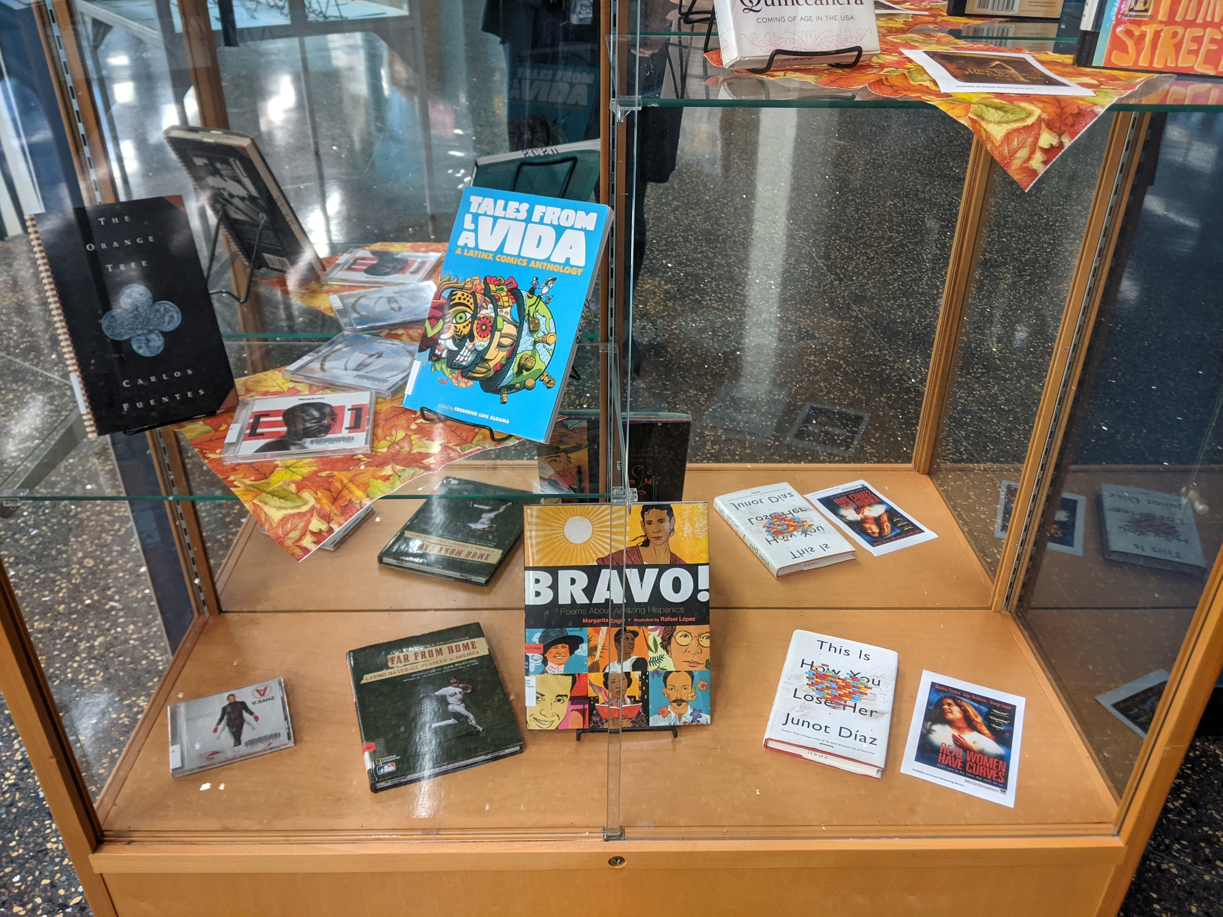 Exhibit case with books