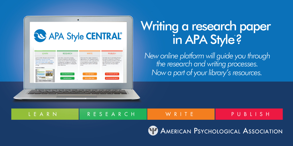 Writing a research paper in APA Style? Try APA Style Central! Click for link.