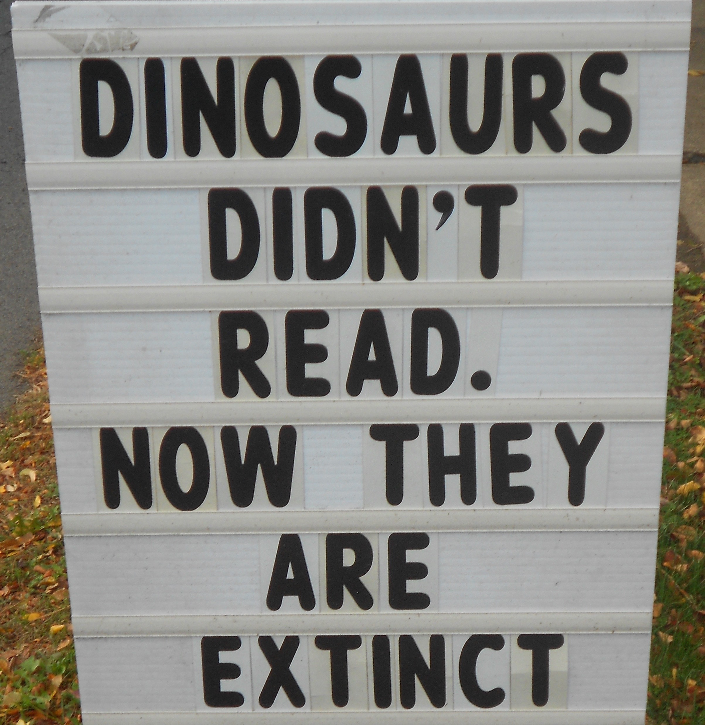 Dinosaurs didn't read; now they are extinct