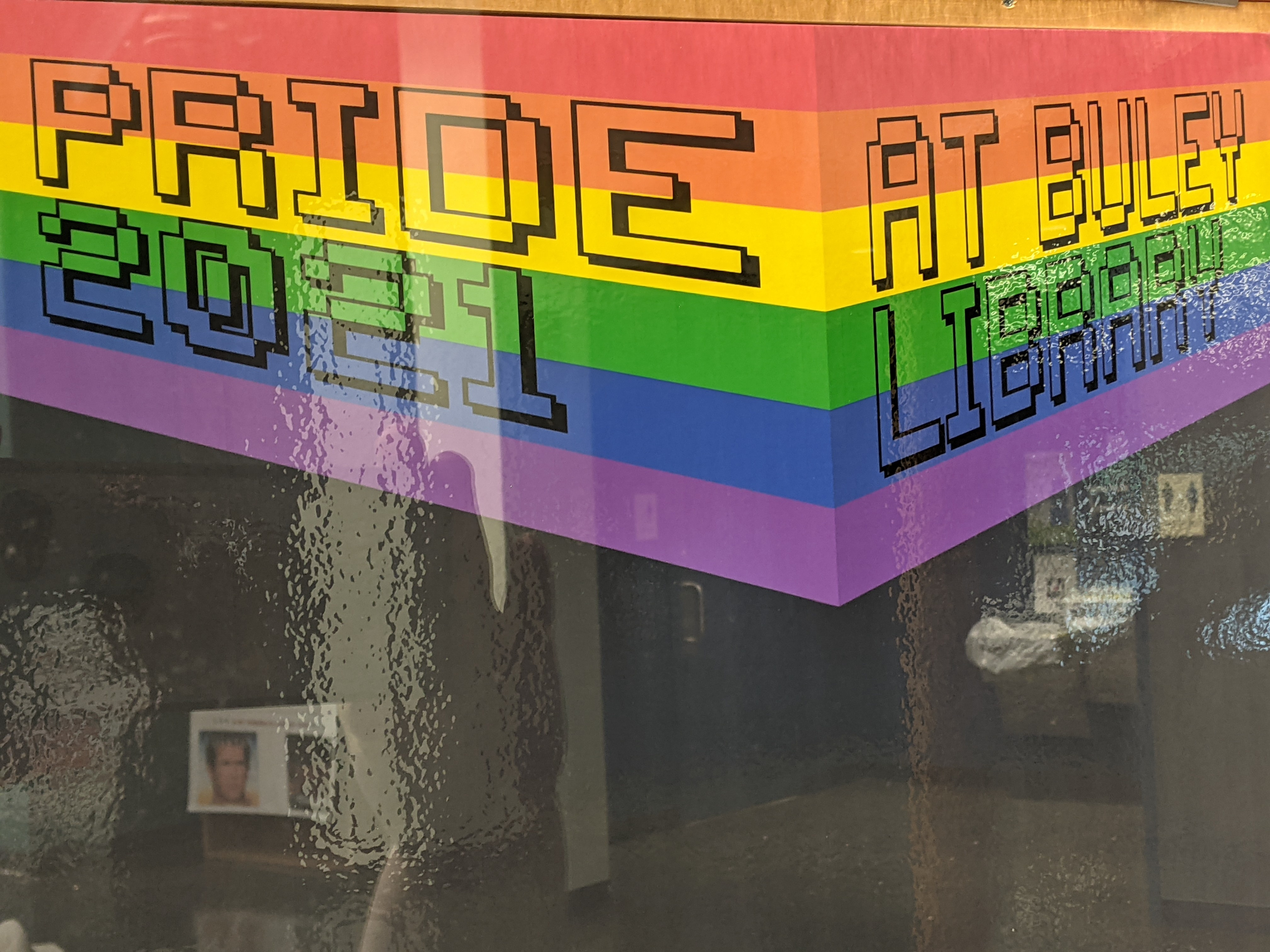 Pride Month 2021 at Buley Library rainbow banner