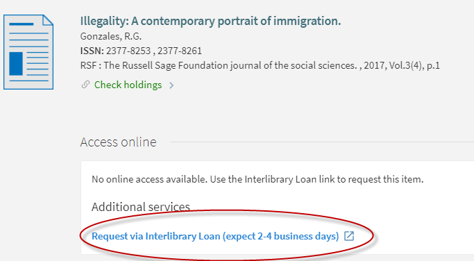 Click on the link that says InterLibrary Loan
