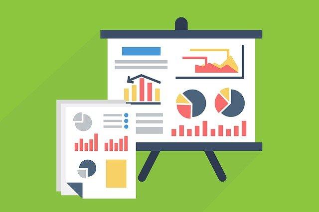 Various types of graphs: bar graphs, pie charts, line graphs, etc