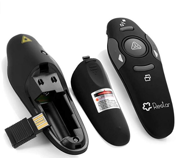 wireless presentation remote with laser pointer