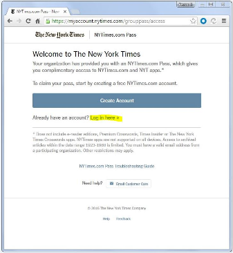 NYT Interactive Log-in