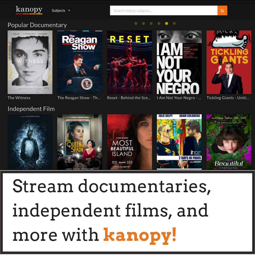 New Database Kanopy, for streaming videos