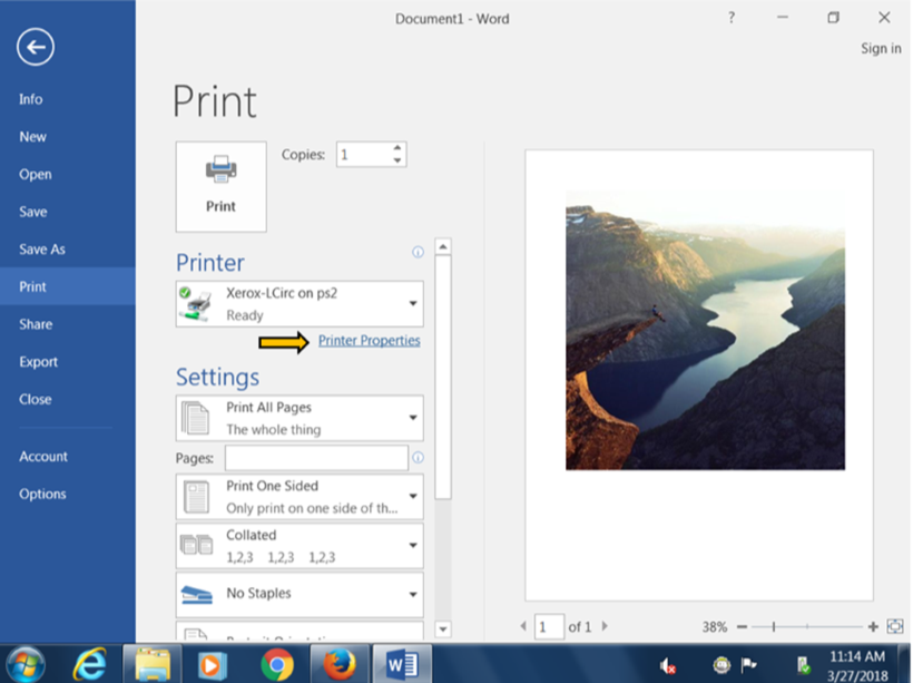 Printer properties screenshot