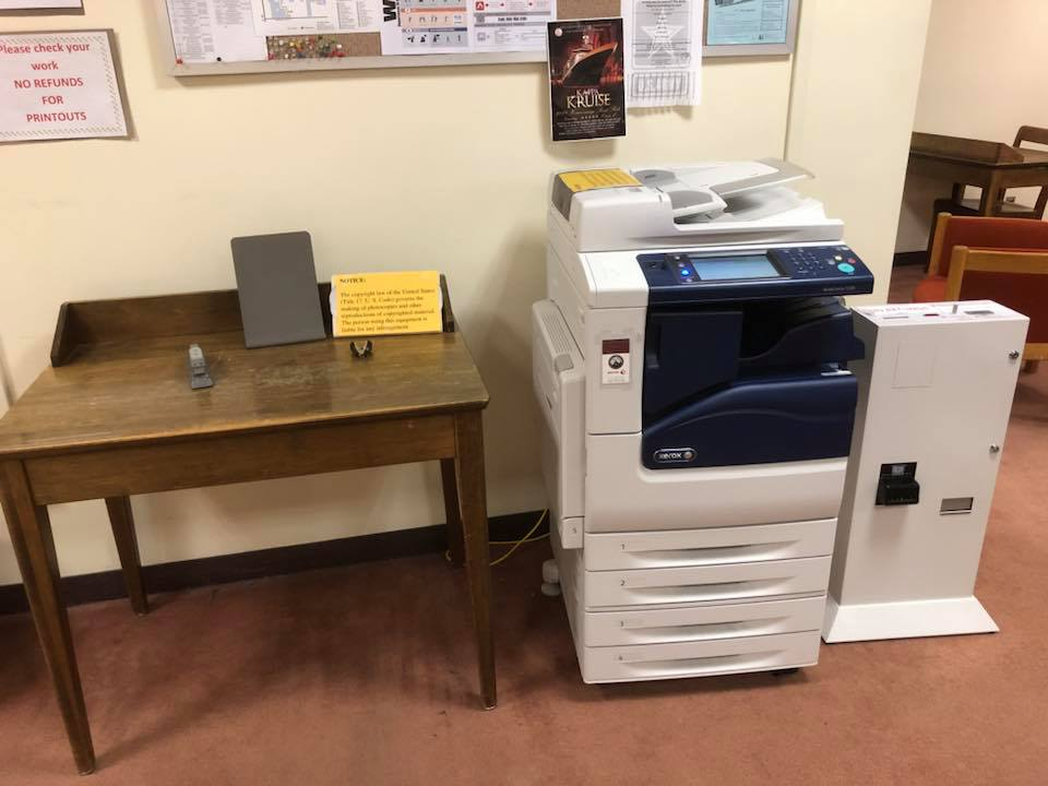Printer location in the library