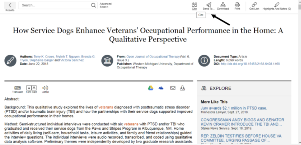 "Full text of the article ""How service dogs enhance veterans occupational performance in the home""."