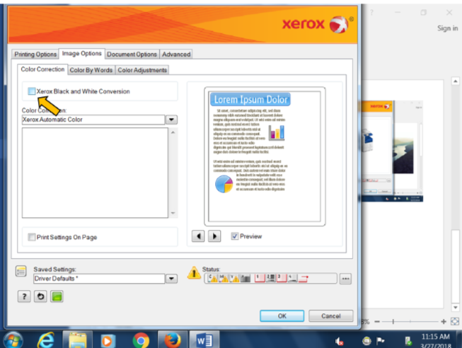 Xerox black and white conversion screenshot