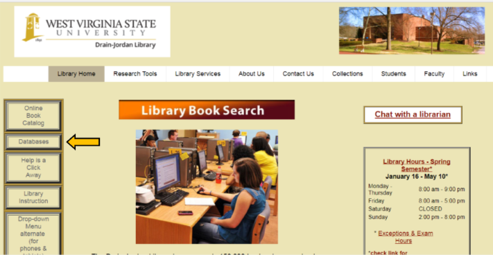 "Location of ""database"" link on Library homepage"