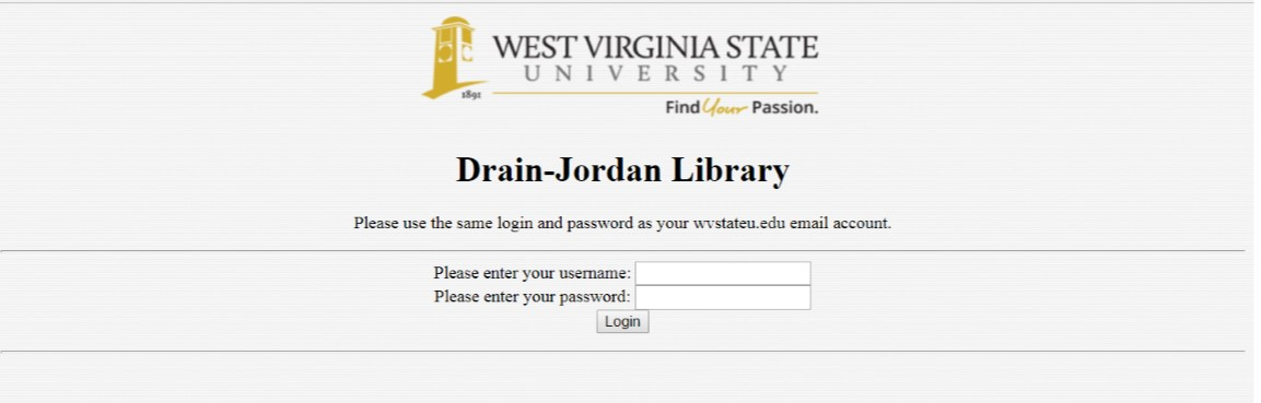 Login page for off campus access