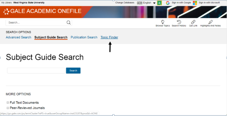 "Academic OneFile alternative search option, ""Topic Finder"""