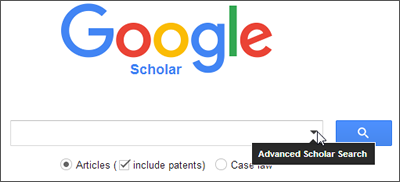Google Scholar search window