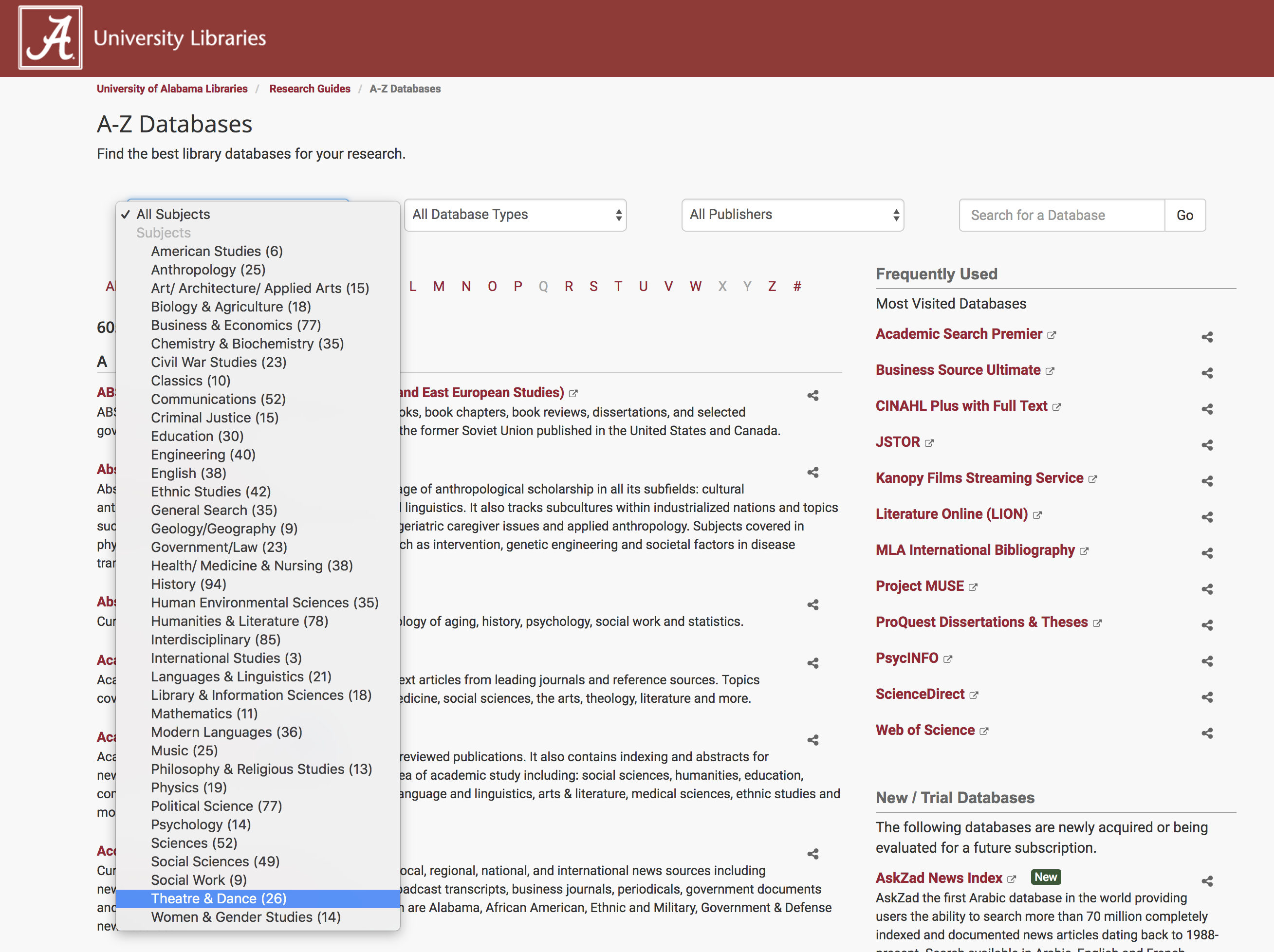 screenshot of A-Z Database page on the University of Alabama library website showing the expanded subject options