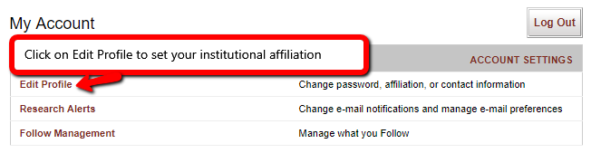 Screenshot. Text = Click on Edit Profile to set your institutional affiliation