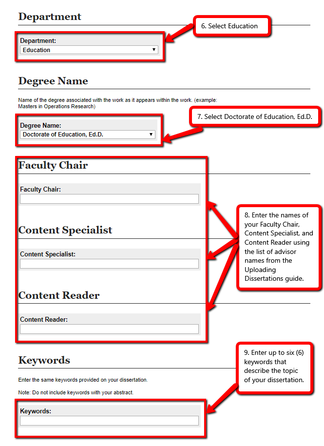 """Screenshot. [Text provides instructions for filling out the form; it's the same as steps 6 through 10 under the """"You should now be on the page to provide information about your dissertation and upload it."""" section above]"""