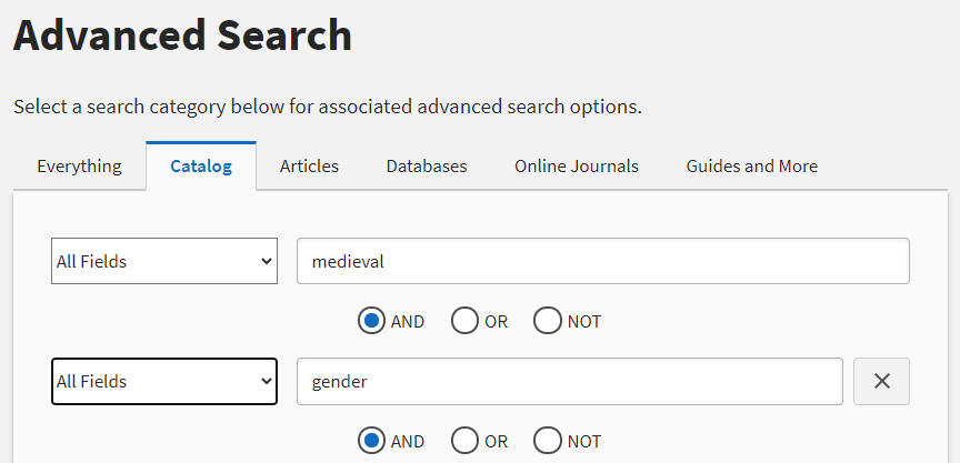 "Image of library catalog search for ""medieval"" and ""gender"""
