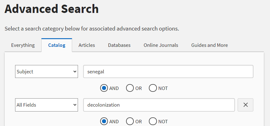 """Image of a library catalog search for """"Senegal"""" as a subject and """"decolonization"""" in all fields."""