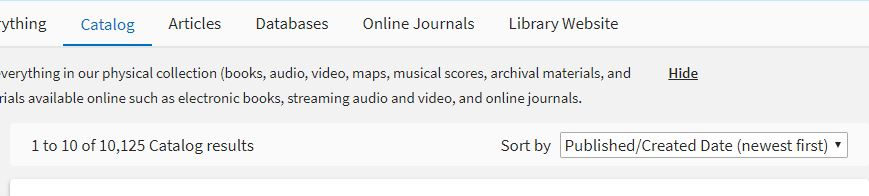 "Image showing a list of Library Catalog search results and the dropdown menu to sort those results. The menu has been changed to ""Published/Created Date (newest first)."""