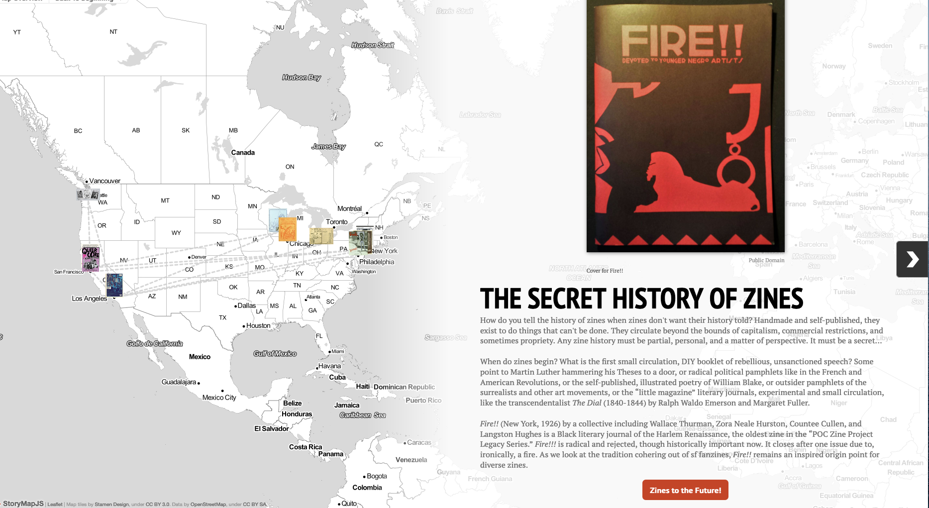 The Secret History of Zines interactive story map