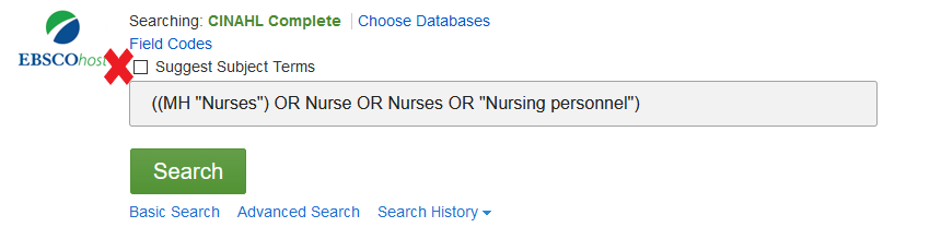 Screenshot of CINAHL search page with X beside Suggest Subject Terms box