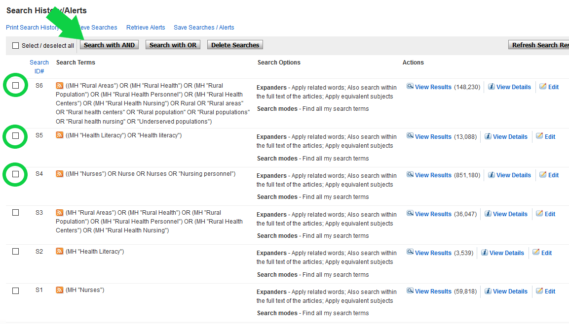 Screenshot of search history box on CINAHL with arrow pointing to Search with AND