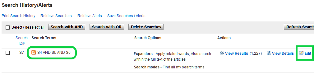 Screenshot of search history on CINAHL demonstrating combination of all searches