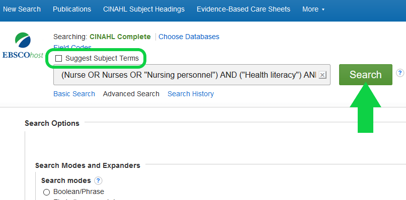 Screenshot of search page on CINAHL