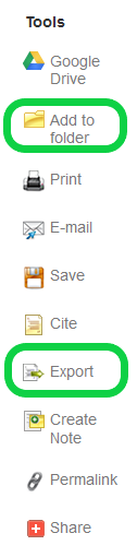 Screenshot of Add to folder button on CINAHL