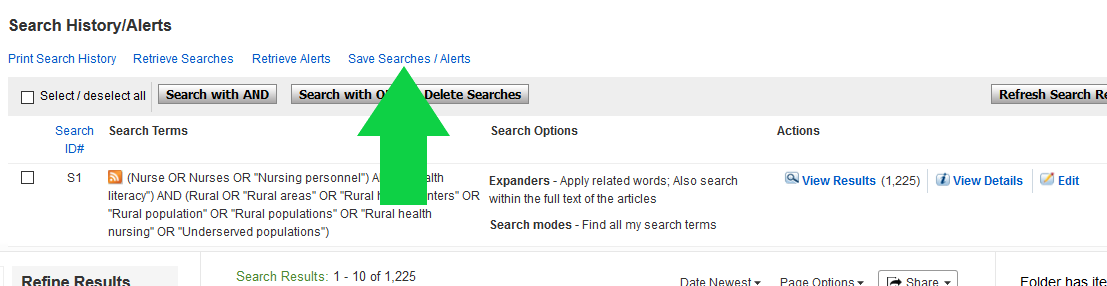 Screenshot of CINAHL search results page with arrow pointing to Save Search link