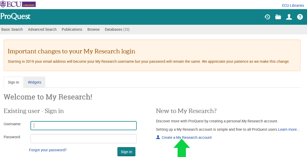 Screenshot of ProQuest account creation page