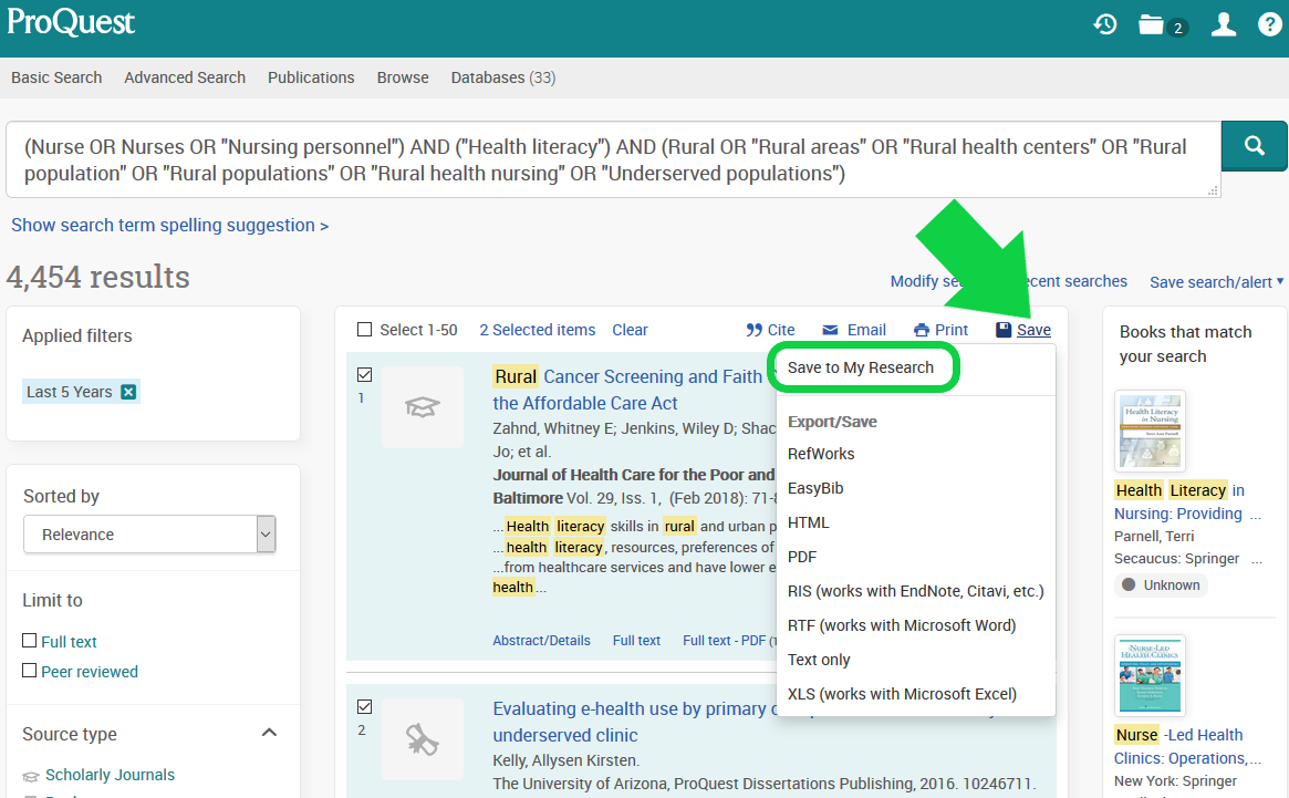 Screenshot of ProQuest results page with arrow pointing to Save button