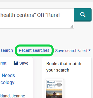Screenshot of Recent Searches on ProQuest