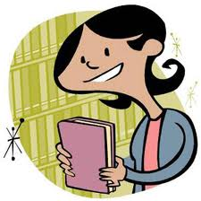 cartoon student with book