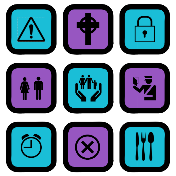 Nine icons displayed in a square: (1) Caution, Conflict (2) Holy Cross, Religion, (3) Lock, Privacy, (4) Man & Woman, Gender, (5) Family, (6) Policeman, Authority, (7) Clock, Time, (8) Incorrect, Cross, Rules, (9) Cutlery, Food.