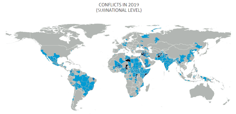 Map Conflict Barometer Subnational Level 2019