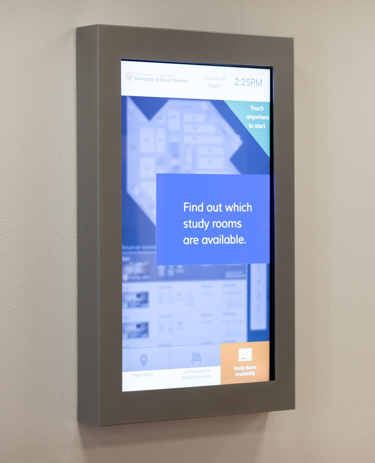 touchscreen kiosk with text, find out which study rooms are available
