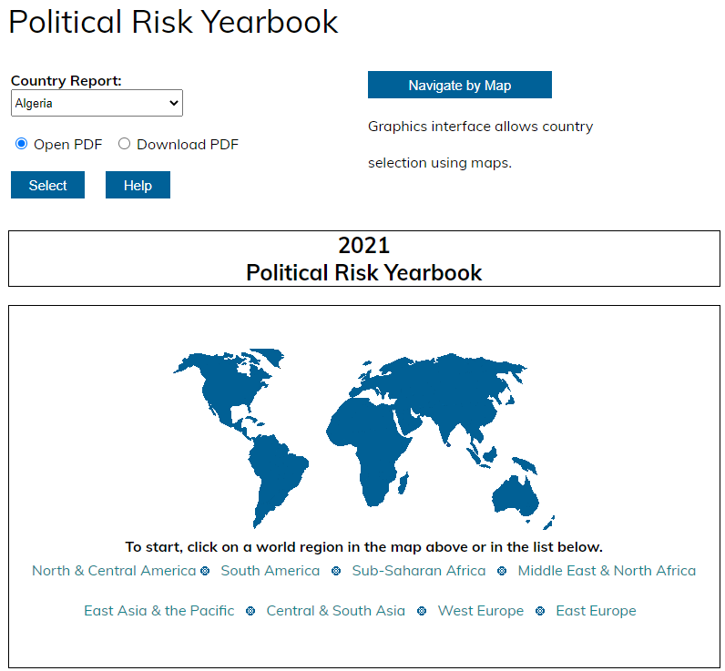 Political Risk Yearbook Interface