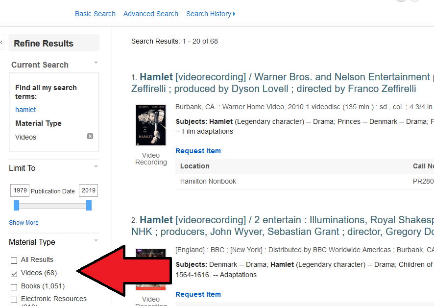 the section box for video has been checked under Material Type in the catalog search results screen