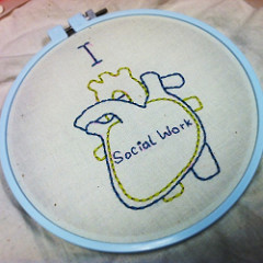 I 'heart' Social Work embroidery