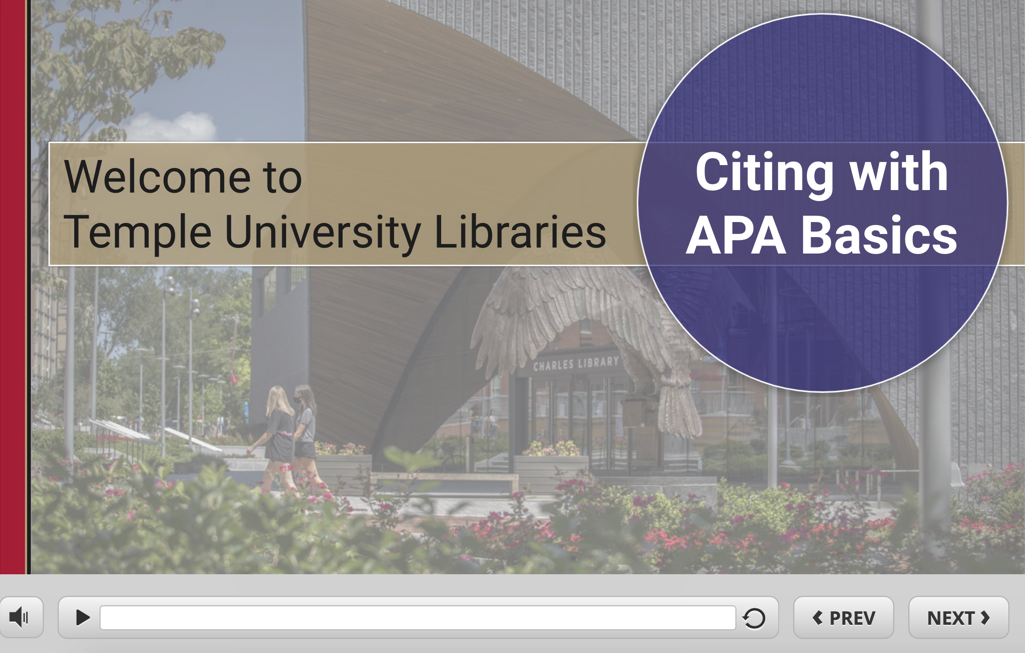Temple Libraries Citing with APA Basics tutorial screenshot