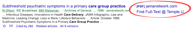 Google Scholar search result with Find Full-Text @ Temple link