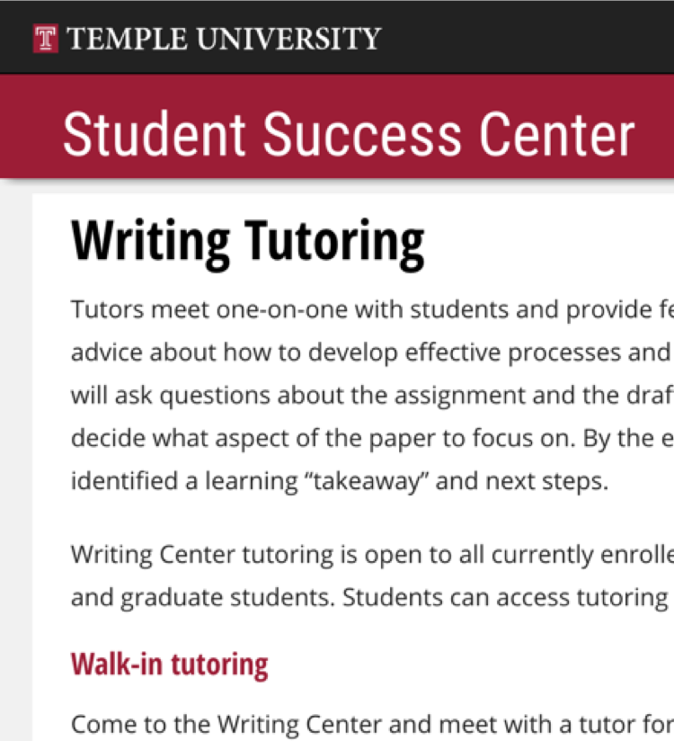 Temple University Student Success Center writing tutoring page screenshot