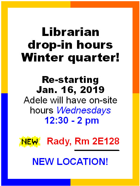 Drop in hours at the Rady School of Business on Wednesdays, 12:30-2pm, Rm 2E128