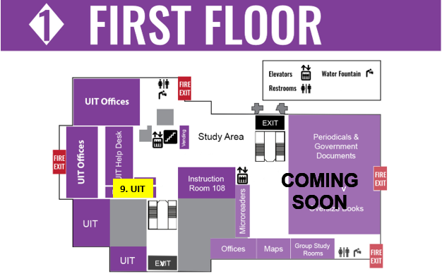 Map of 1st floor of library
