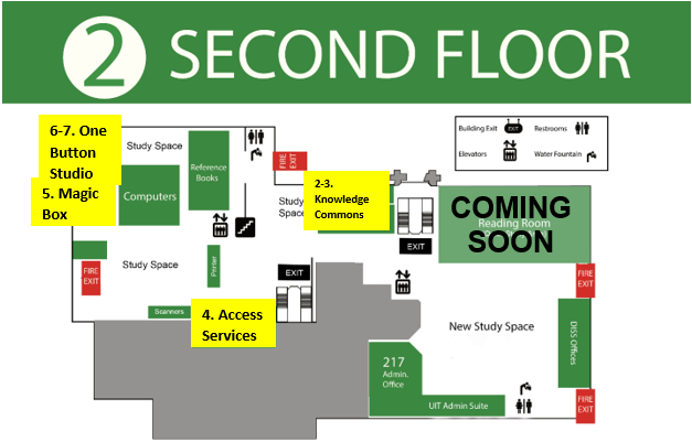 Map of 2nd floor of library